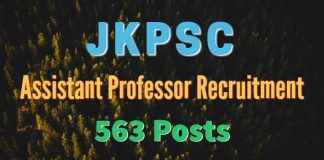 JKPSC Assistant Professor Recruitment 2017 for 563 Posts