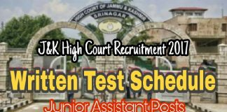 Written Test Schedule for Junior Assistant Posts in J&K High Court Recruitment 2017