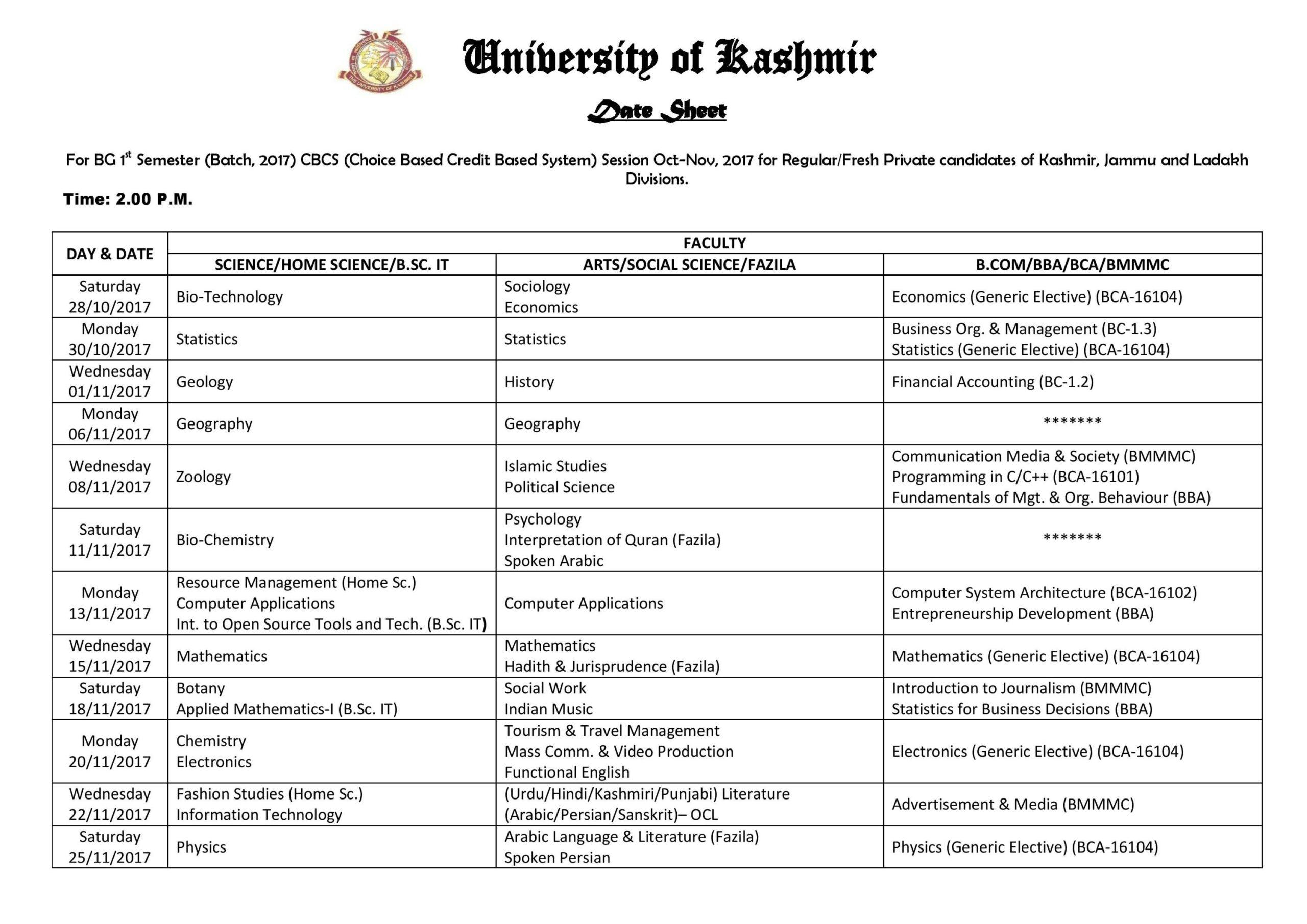 Date Sheet for BG 1st Semester (CBCS) Exam 2017
