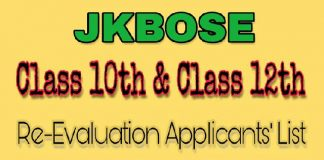 JKBOSE issues Class 10th & Class 12th Re-evaluation applicants List