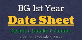 BG 1st Year Date Sheet for Kashmir, Ladakh & Jammu (Session: December, 2017)