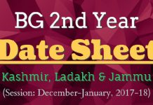BG 2nd Year Date Sheet for Kashmir, Ladakh & Jammu (Session: Dec-Jan, 2017-18)