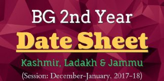 BG 2nd Year Date Sheet for Kashmir, Ladakh & Jammu (Session: Dec-Jan, 2017-18)