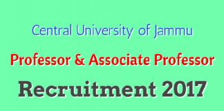 Central University of Jammu Professor & Associate Professor Recruitment 2017