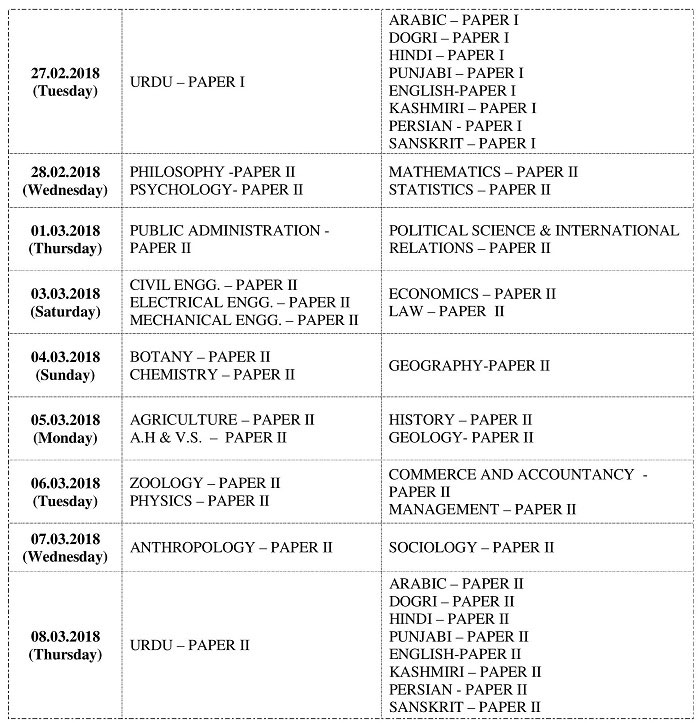 Date Sheet for J&K Combined Competitive (Mains) Examination - 2016
