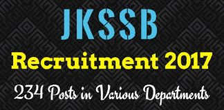 JKSSB Recruitment 2017 for 234 Posts in various Departments