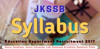 JKSSB Syllabus for Education Department Recruitment 2017