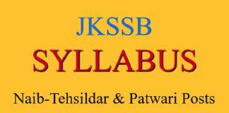 JKSSB Syllabus for Naib-Tehsildar & Patwari Posts
