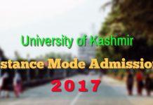 Kashmir University Distance Mode Admissions 2017