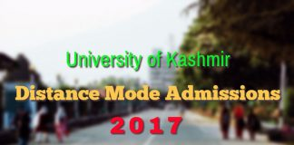 Kashmir University Distance Mode Admissions 2017