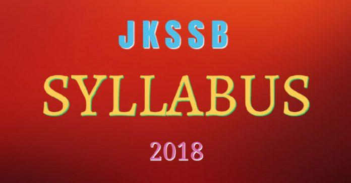 JKSSB Syllabus 2018
