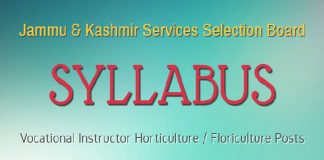 JKSSB Syllabus for Vocational Instructor Horticulture / Floriculture Posts