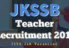 JKSSB Teacher Recruitment 2018 for 2154 Posts
