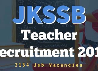 JKSSB Teacher Recruitment 2018 for 2154 Posts