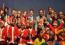Minister for Education, Altaf Bukhari during the annual day celebrations of Government Girls High School, Gandhi Nagar