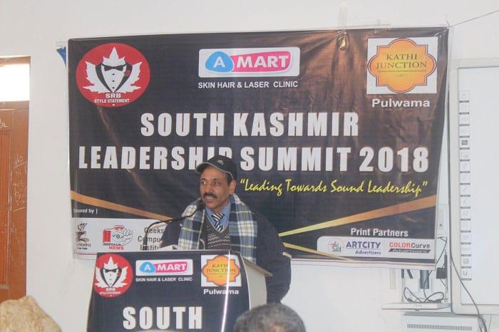Principal, Government Degree Colege (Boys) Pulwama, Dr. Bashir Ahmad Mir speaking at South Kashmir Leadership Summit 2018