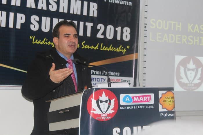 Medical Superintendent District Hospital Pulwama, Dr Abdul Rashid Parra speaking at South Kashmir Leadership Summit 2018
