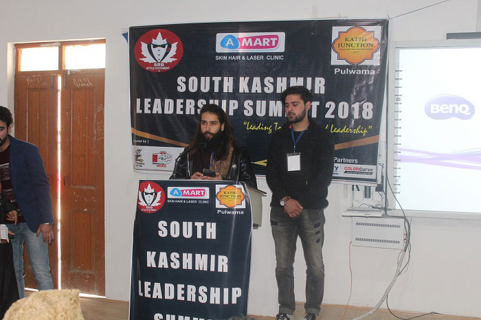 Shahid Rashid Bhat speaking at South Kashmir Leadership Summit 2018