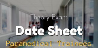 Date Sheet for Theory Exam of Paramedical Trainees