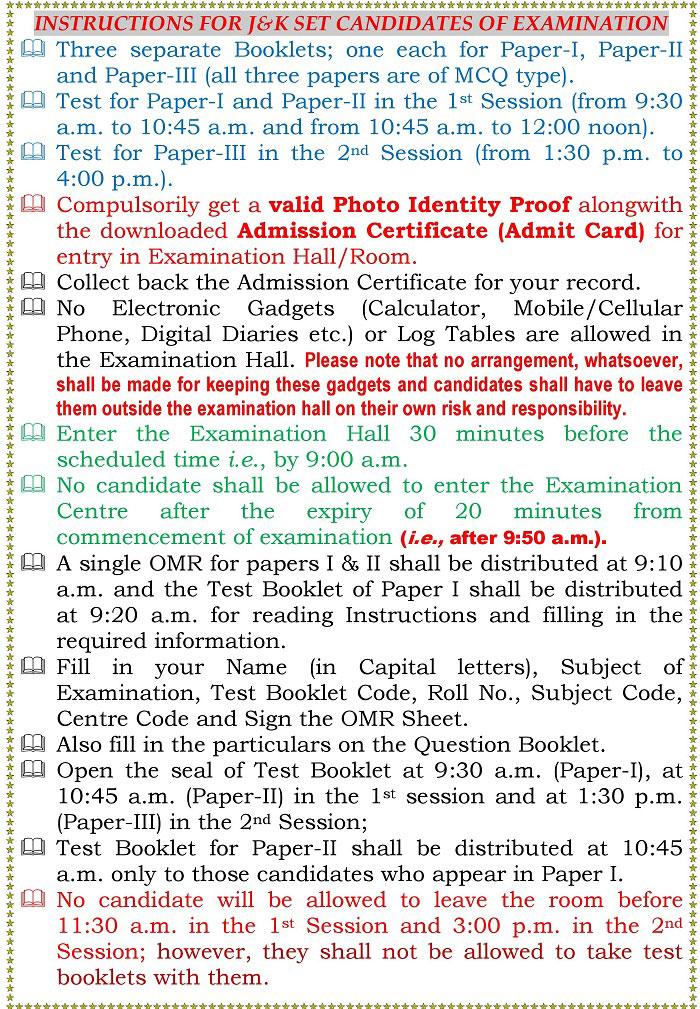 J&K SET Exam 2018: Important Instructions for Candidates