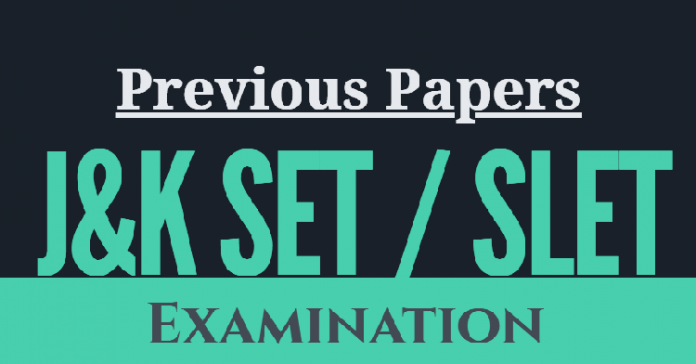 Previous Papers of J&K SET / SLET Examination