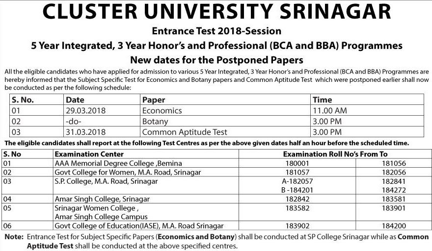 CUS Entrance Test 2018 - Revised Date Sheet for Postponed Papers