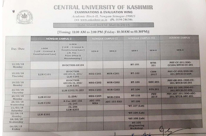 Central University of Kashmir Date Sheet for ESE (March - 2018)