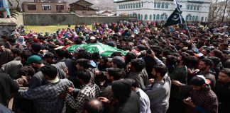 Mourners carrying the body of slain militant Shabir Ahmed killed in Balhama encounter