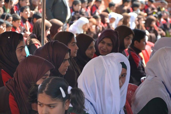 A view of school children from Solace International School Pulwama