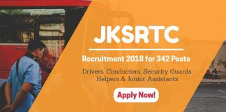 JKSRTC Recruitment 2018 for 342 Posts