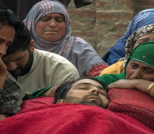 Sharjeel Ahmad killed in firing by government forces near the encounter site at Khudwani Kulgam