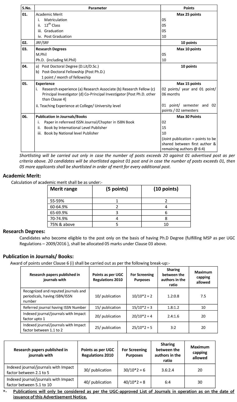 University of Kashmir Assistant Professor Recruitment 2018 - Shortlisting Criteria