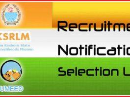 JKSRLM - Notifications - Recruitment - Selection Lists