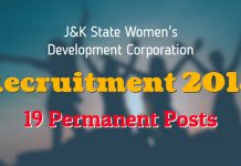 JKWDC Recruitment 2018 for 19 Permanent Posts
