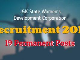 JKWDC Recruitment 2018 for 19 Permanent Posts