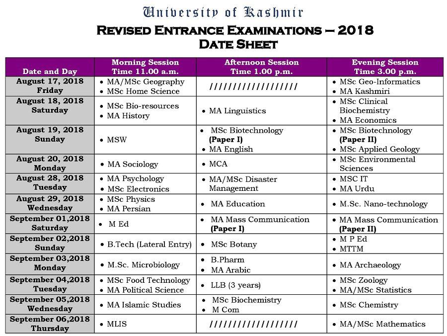 Revised Date Sheet for Kashmir University Entrance Test 2018
