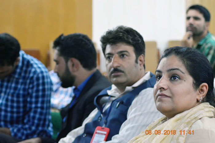 Dr. Ruheela Hassan (HoD - Department of Journalism & Mass Communication, IUST), Kamran Khursheed (Editor-In-Chief of The Kashmir Radar) among the audience during the launch event