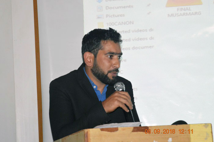 Shah Irshad (President - PWJA Pulwama) speaking during the launch event
