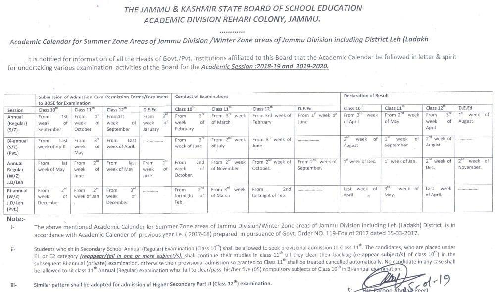 JKBOSE Academic Calendar 2019 for Jammu Division