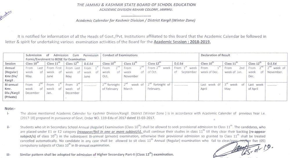 JKBOSE Academic Calendar 2019 for Kashmir Division